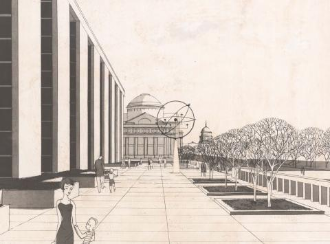 Rendering of museum showing columns, figures, and sculpture
