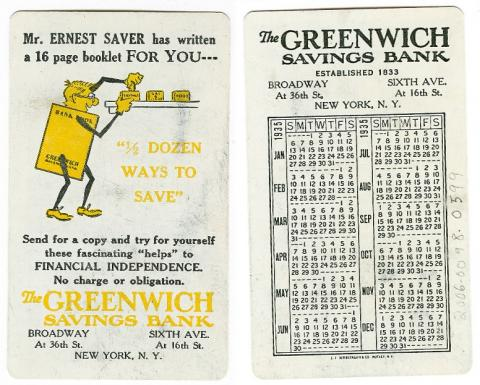 Celluloid calendar featuring Greenwich savings bank