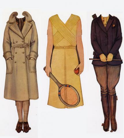 paper doll outfits, one dress and one jacket