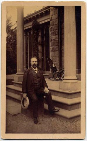 Piano manufacturer William Steinway at his mansion in Astoria, Queens, N.Y. circa 1885. If William was alive today and wanted to see a major league game while at the mansion, he would be only 3.9 miles from the Mets' Citi Field.