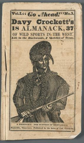Woodcut portrait of Davy Crockett in elaborate hat with gun