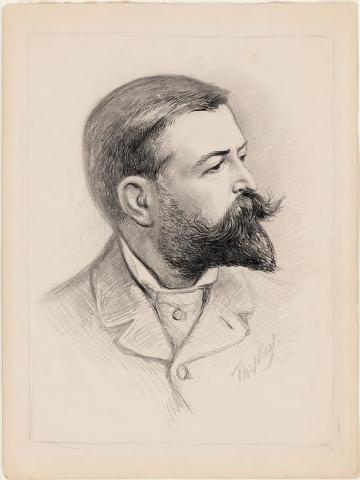 Self-portrait of Thomas Nast in pencil and india ink, prominent beard