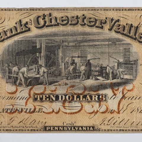 An antique $10 bill