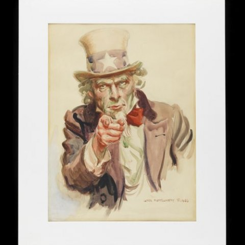 "Drawing by James Montgomery Flagg of Uncle Sam. Flagg called the recruiting poster that uses this image ""The most famous poster in the world."""