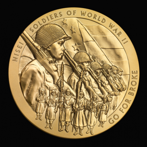 "The medal's obverse (heads side) design features Nisei (second-generation Americans of Japanese ancestry) Soldiers from both the European and Pacific theaters. The 442nd RCT color guard is depicted in the lower field of the medal. The inscription ""Go For Broke"" is the motto of the 442nd RCT, and was eventually used to describe the work of all three units."
