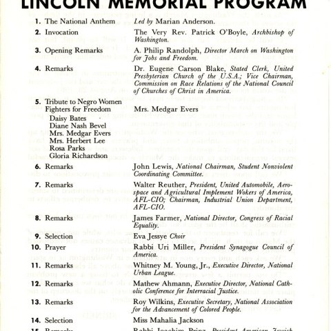 March Program (National Museum of American History, gifts of Rev. Walter Fauntroy and the A. Philip Randolph Institute)