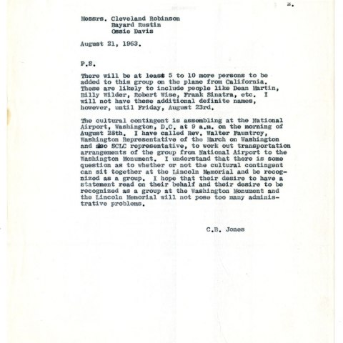 This letter to Bayard Rustin lists some of the Hollywood celebrities coming to Washington for the march. (On loan from Walter Naegle)