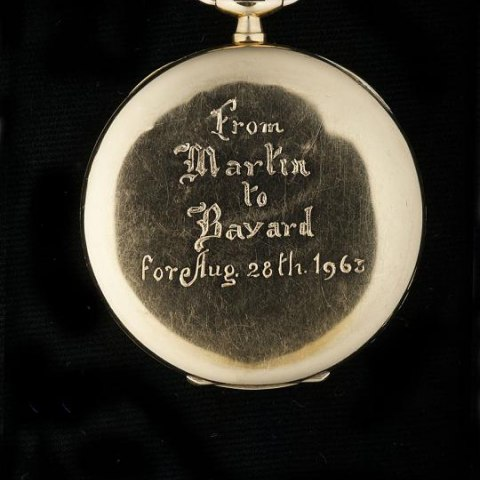 """A Pocket Watch from Dr. King: Pocket watch given by Martin Luther King Jr. to Bayard Rustin with the inscription on the back """"From Martin to Bayard for Aug. 28, 1963."""" (On loan from Walter Naegle)"""