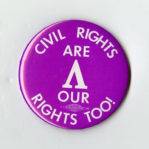 Protest Button (National Museum of American History, gifts of Pearl B. Cole; Timothy Connelly in memory of Gordon Montgomery Connelly; Carole An Cullum; Roger Fischer; the Shepherd Center; and Ethel Weisser)