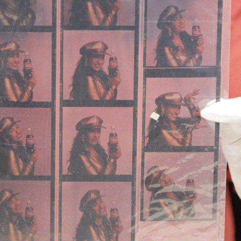 Photo transparencies of Selena holding Coca-Cola
