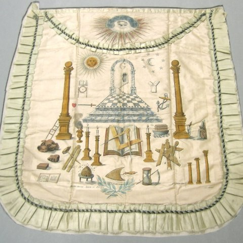 Part of the Museum's fraternal collections, this elaborate apron belonged to Sidney Mason, America's first consul to Puerto Rico, and dates to around 1822. The printed design was created by Edward Horsman of Boston in 1814.