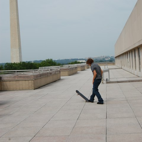 Rodney Mullen on the roof of the Museum