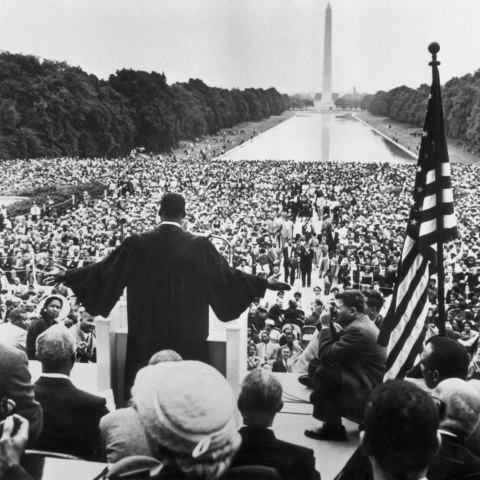 """Give Us the Ballot"" (Courtesy of Getty Images) Martin Luther King Jr. delivers his speech at the Prayer Pilgrimage for Freedom gathering before the first major civil rights demonstration in Washington, D.C."