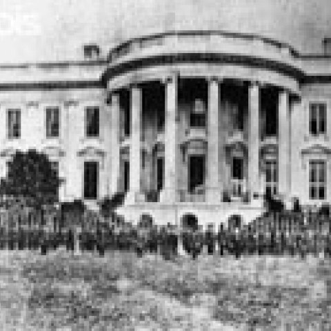 Cassius M. Clay Battalion at White House, April 1861 (U.S. National Archives and Records Administration)
