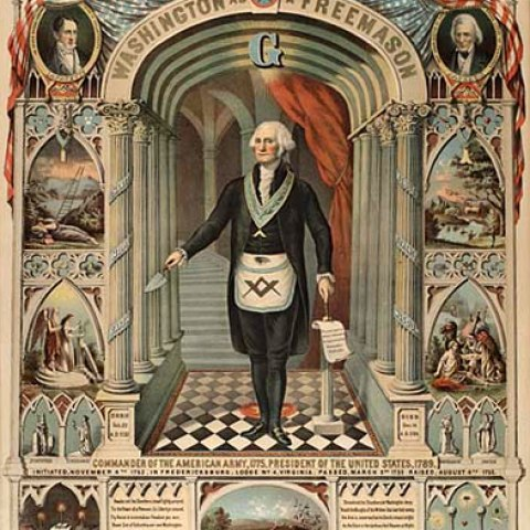 """Washington depicted as a Freemason in this 1870 lithograph by Strobridge Company of Cincinnati, part of the Harry T. Peters """"America on Stone"""" Lithography Collection"""