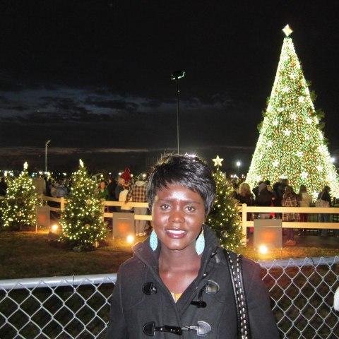 Rebecca with Christmas tree