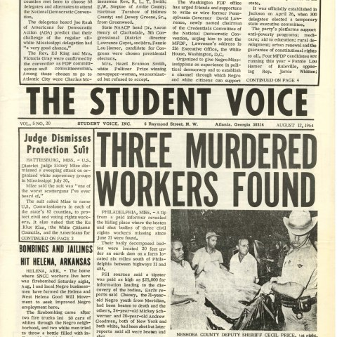 The Student Voice, SNCC's newsletter, August 12, 1964