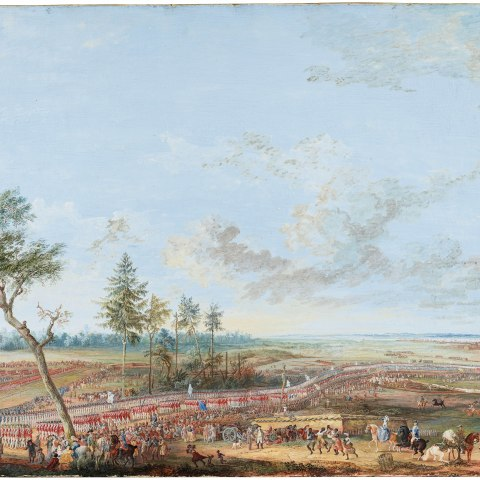 A painting in which many tiny figures in red stand in formation on the ground in the bottom third of the painting under a ight blue sky and various other figures depicted celebrating
