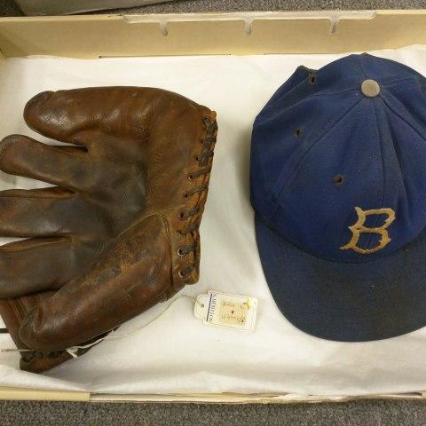 Baseball glove and hat