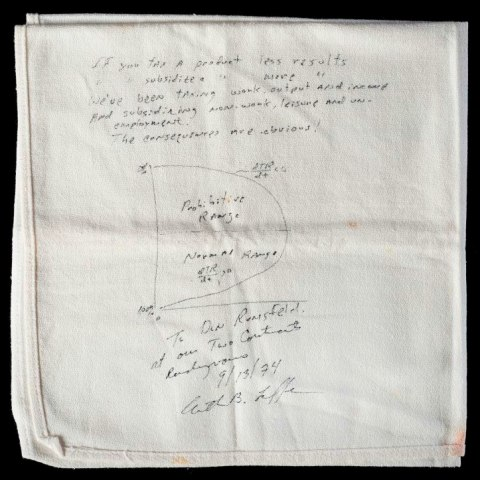 A folded white cloth napkin with writing on it. The notes and graph demonstrate Laffer's theory of supply side economics.