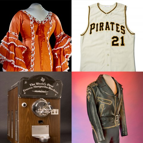 Four images. Leather pants and jeans, orange and white Cuban rumba dress, a Pittsburgh Pirates baseball jersey with the player number 21, and a margarita machine decorated with faux-wood paneling.