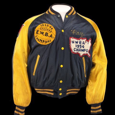 """Blue jacket with yellow sleeves, buttons, zippers, and details. Patch on left says """"EWBA Champions."""""""