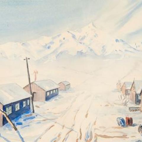 This watercolor by Akio Ujihara depicts snowy Manzanar War Relocation Center in California
