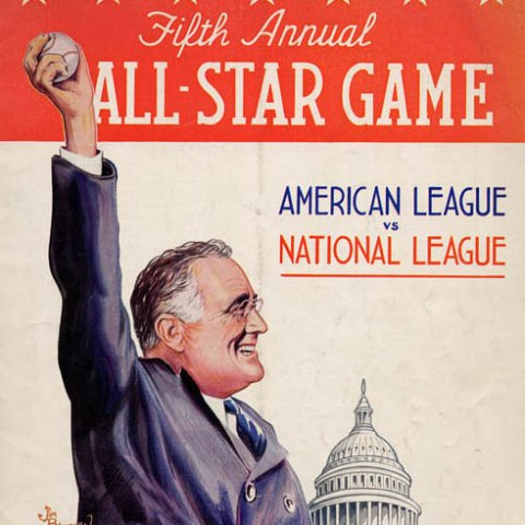 Detail of baseball program with illustration of FDR