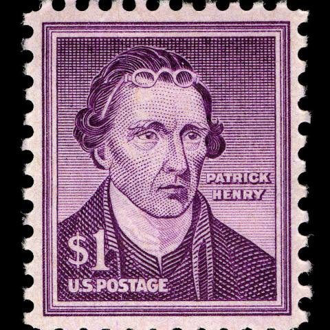 Violet postage stamp featuring portrait of Patrick Henry, with a simple frame around edge
