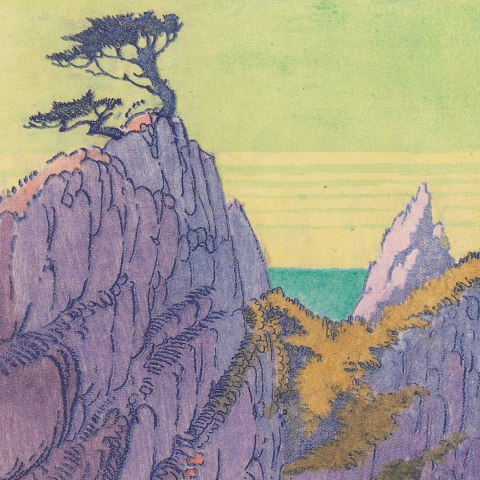 Color block print. High, purple cliffs with a little grass and spindly trees. Sky is green.