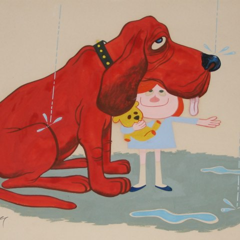 An illustration of a crimson dog with floppy ears sitting in the rain, with a smiling child taking refuge under his chin. She holds a teddy bear. Around them a puddle has developed.