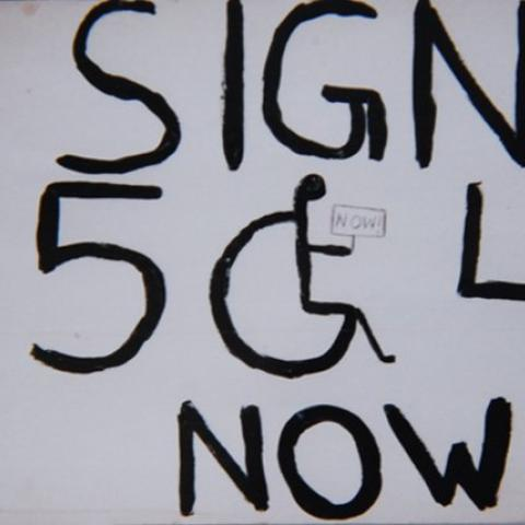 """Yellow button with text saying in capitalized letters """"Handicapped Human Rights: Sign 504 ACCD"""" in bold text."""