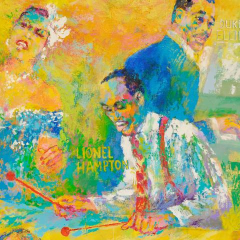 """Detail image of LeRoy Neiman's """"Big Band"""" painting, featuring 3 of the jazz artists"""