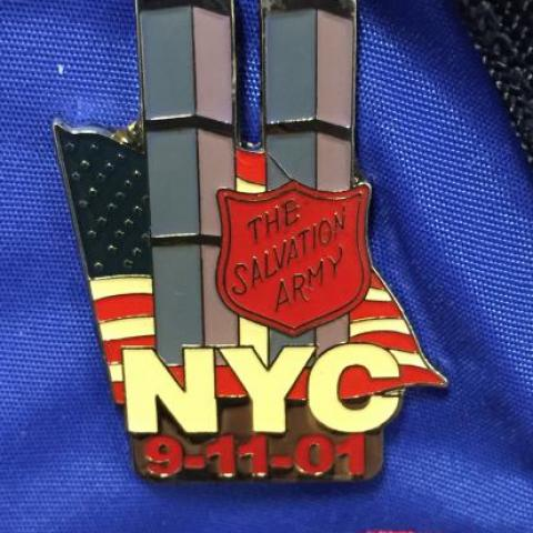 9-11 pin showing Twin Towers and Salvation Army badge