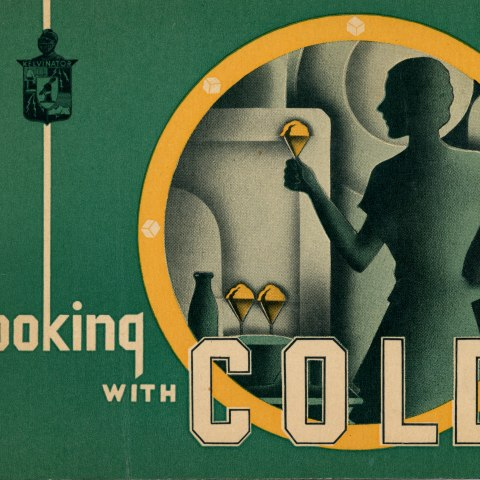 """The cover of a cookbook entitled """"cooking with COLD."""" It is emerald green with an abstract illustration of a woman standing in front of a fridge, holding an ice cream cone, with two more in front of her and a jug."""