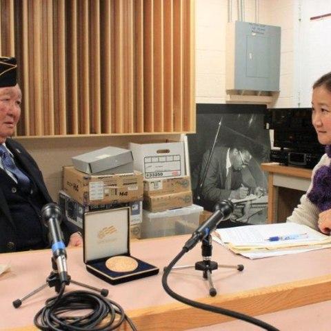 Grant Ichikawa being interviewed by Noriko Sanefuji
