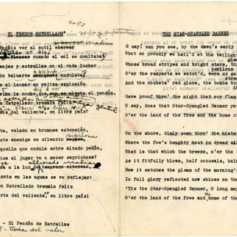 Manuscript written by typewriter with hand-written corrections and markings