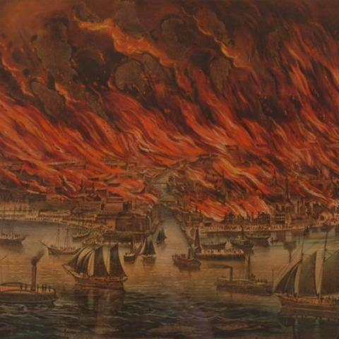Lithograph of city on fire, boats in harbor