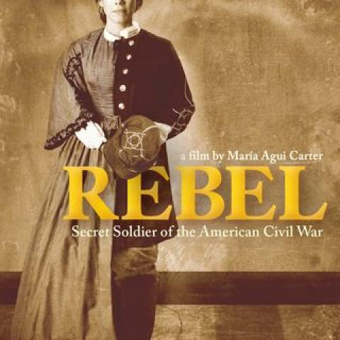 """The signature image for """"REBEL"""" is a composite of two portraits of Loreta Velazquez passing as Lieutenant Harry T. Buford, soldier and spy of the American Civil War, played by actress Romi Dias."""