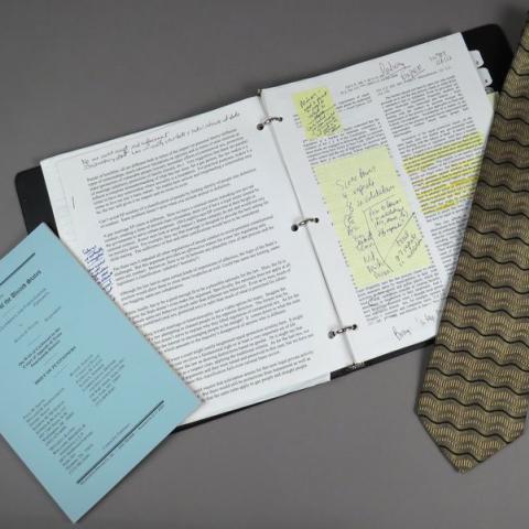 Tie, note book