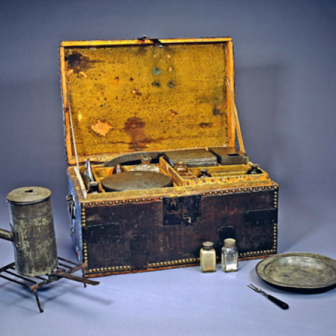 """George Washington's well-appointed personal camp chest, or """"mess kit,"""" enabled him to dine in a manner reflecting his position as commander of the Continental Army."""