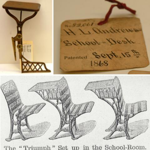 "Three photos: A school desk patent, a label for a school desk patent, and an illustration of three desks in the ""Triumph"" style"