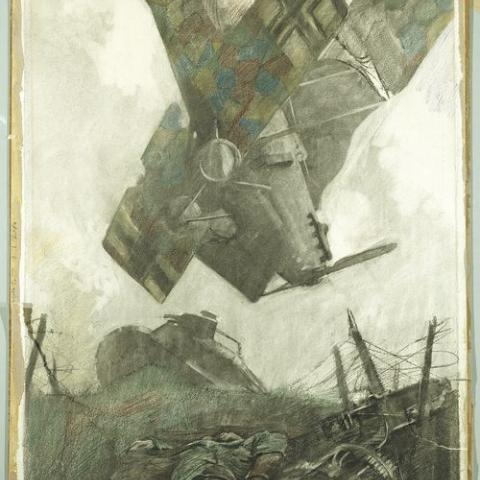 Sketch or artwork of plane crashing to the ground. Soldiers lay on the ground. Toppled fence posts. Dark browns, blacks, grays.