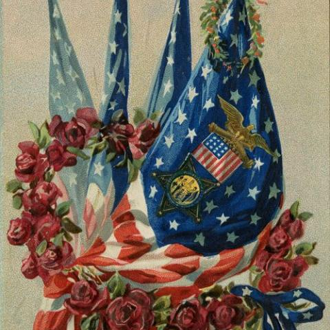 Postcard showing illustration of American flag, wreath of roses, and Civil War symbols
