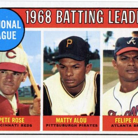Matty Alou's brothers Felipe and Jesús also played professional baseball. This card shows the National League's 1968 batting leaders, which include Matty and Felipe Alou. Ronald S. Korda
