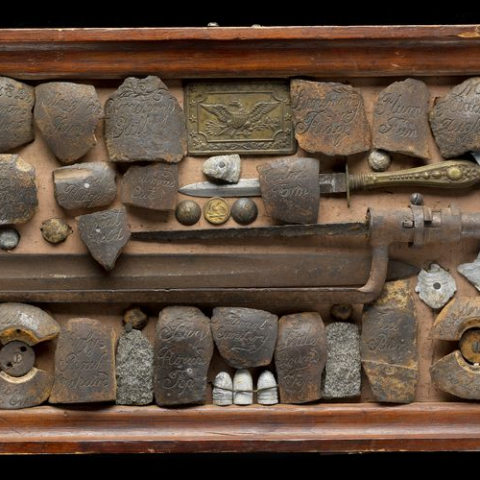 Case of relics presented to General Winfield Scott Hancock by the people of Gettysburg in 1885
