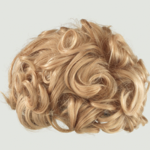 A curly blond wig with short hair