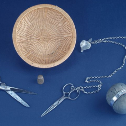 Needles, scissors, pins, and chatelaine from the, early 1800s, of the type Pickersgill and her assistants would have used to make the flag.