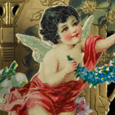 Pop-up illustration of a cupid with wings and rosy cheeks holding a garland of blue flowers.