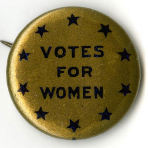 """votes for women"" pin with stars"